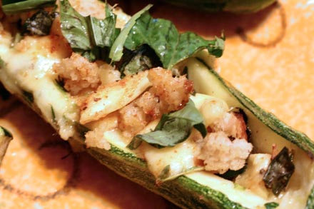 stuffed romesco courgette